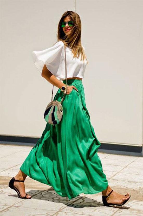 Яркая длинная юбка на лето 2020