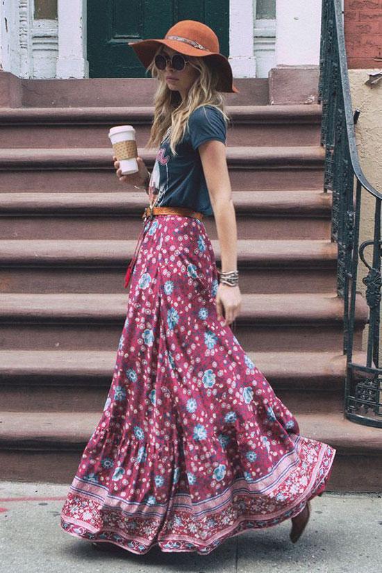 С чем носить длинную юбку в стиле бохо летом 2020