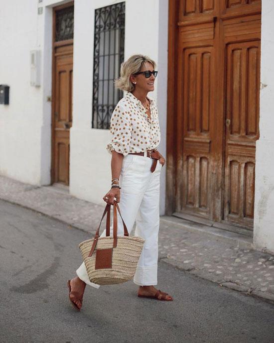 Летние образы с брюками для 50-летних женщин