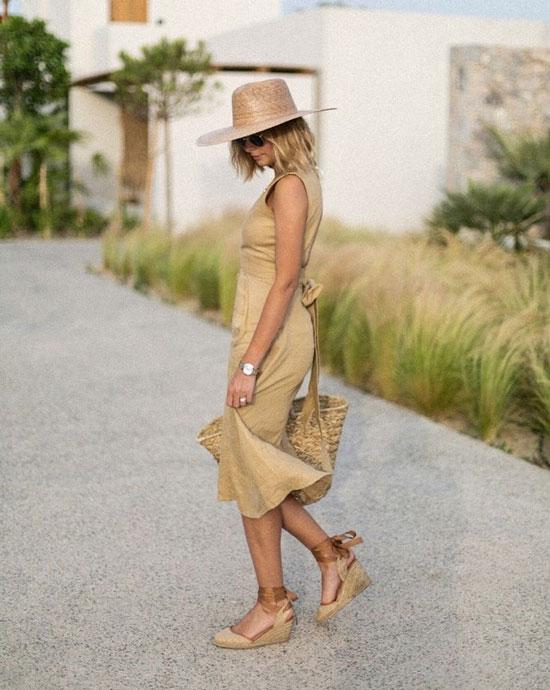 Эспадрильи с сарафаном и шляпой