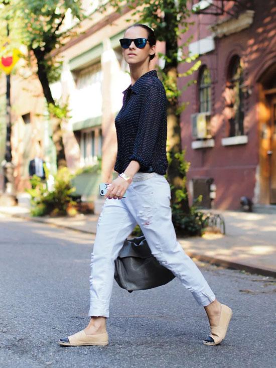 Классические эспадрильи с джинсами на лето 2020