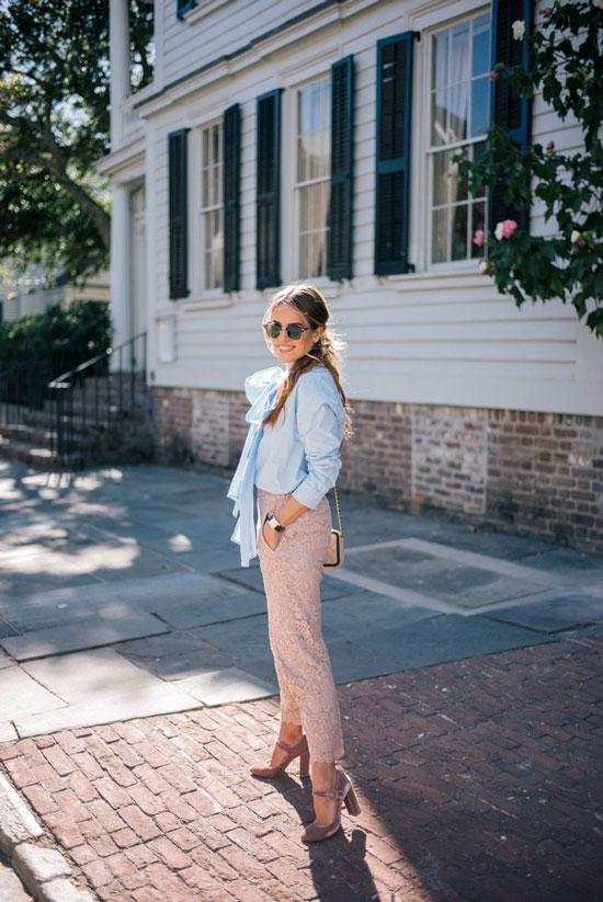 С чем носить кружевные брюки