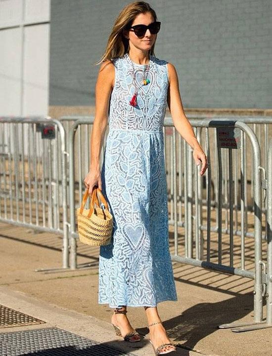 С чем носить кружевное платье летом 2020