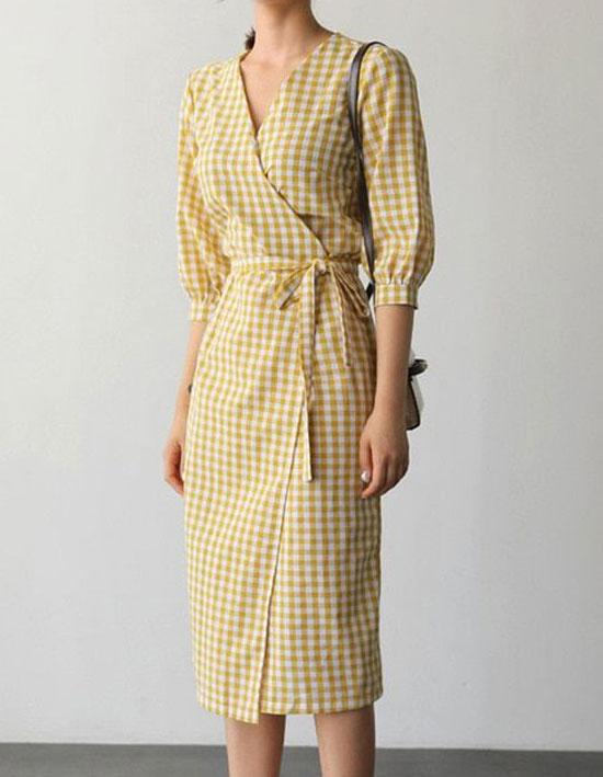 Базовое платье в клетку на запах с АлиЭкспресс на лето