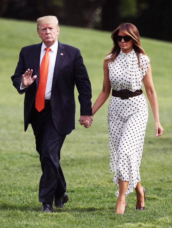 Мелания Трамп в летнем платье в горошек