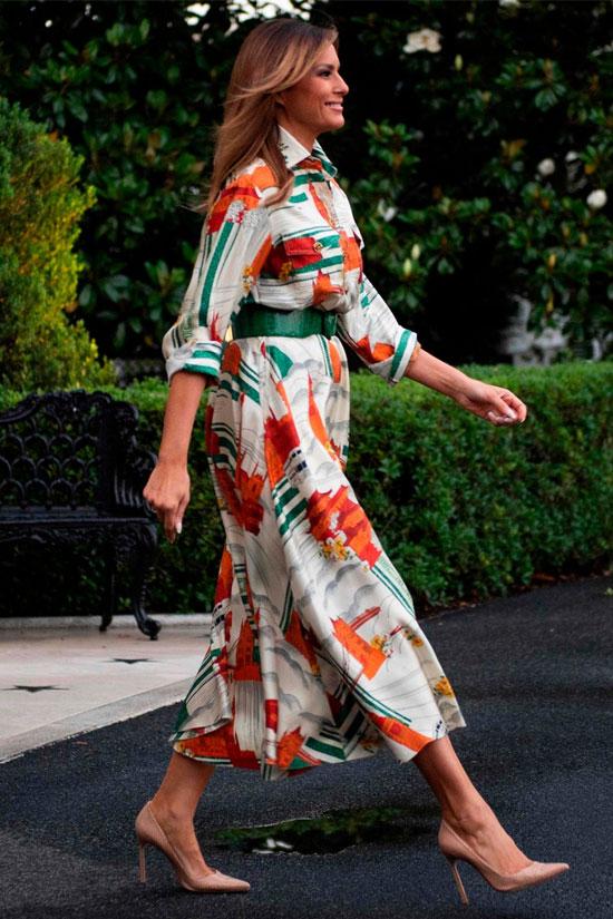 Мелания Трамп в летнем платье Gucci