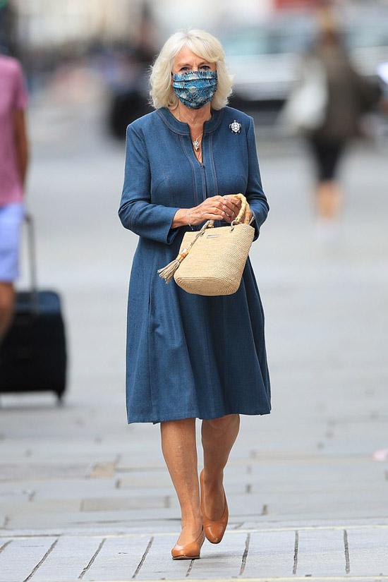 Герцониня Камилла в простом синем платье и сумочкой