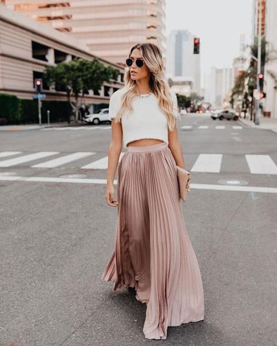 С чем носить плиссированную юбку-макси