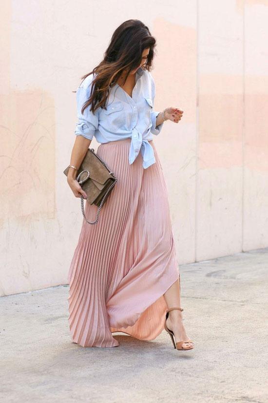 Образы на лето с длинной плиссированной юбкой
