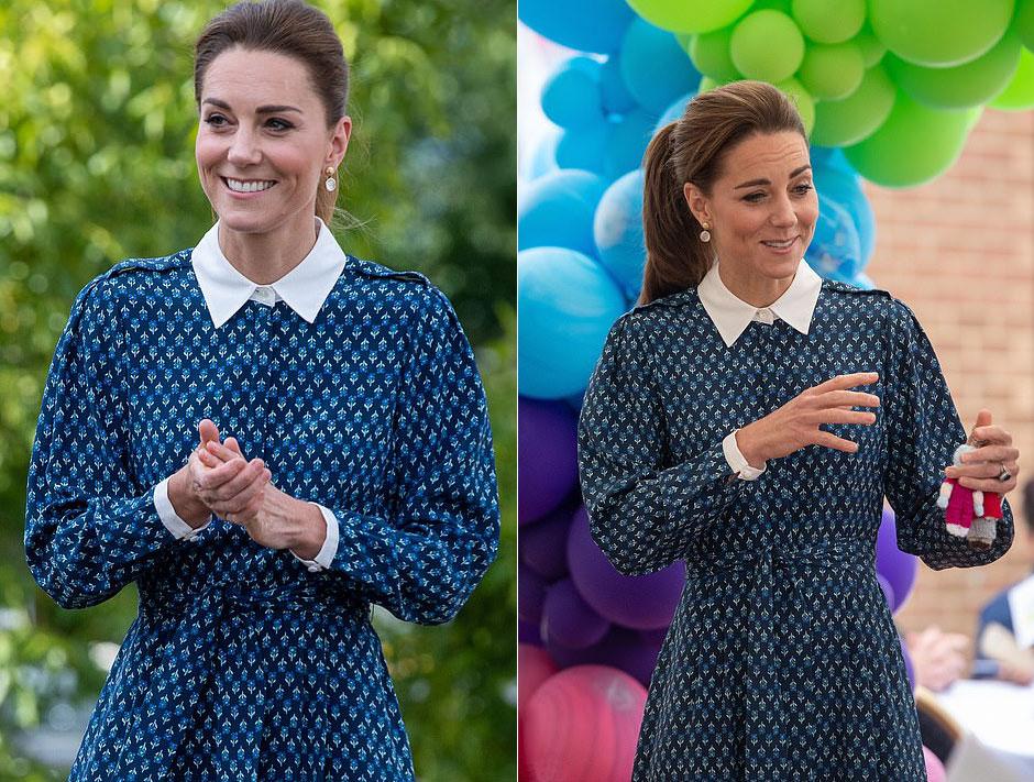 Кейт Миддлтон в синем платье-миди с белым воротничком и манжетами