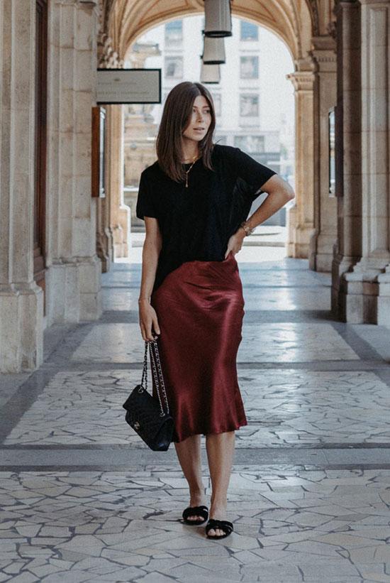 Как носить атласную юбку летом 2020