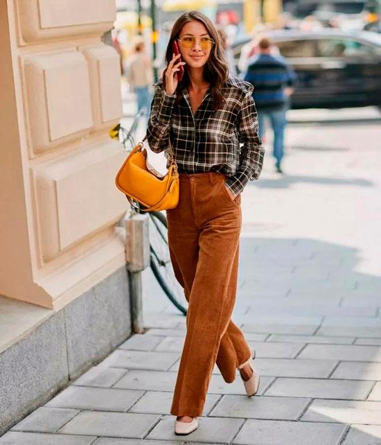Вельветовые брюки для женщин на осень 2020