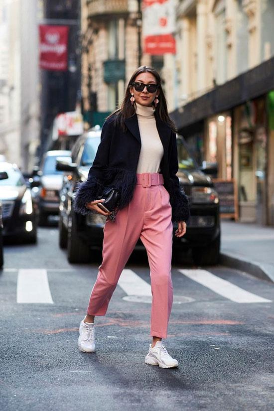 Модные брюки с поясом для женщин 2020
