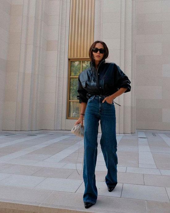 Как женщинам носить широкие джинсы осенью 2020