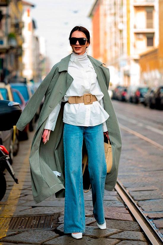 Как носить широкие джинсы осенью 2020