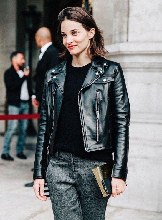 Как носить кожаную куртку осенью 2020