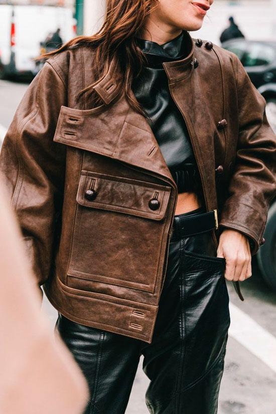 Женская кожаная куртка на осень 2020