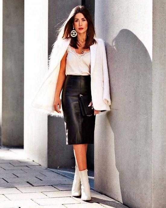 Кожаная юбка-карандаш для женщин на осень 2020