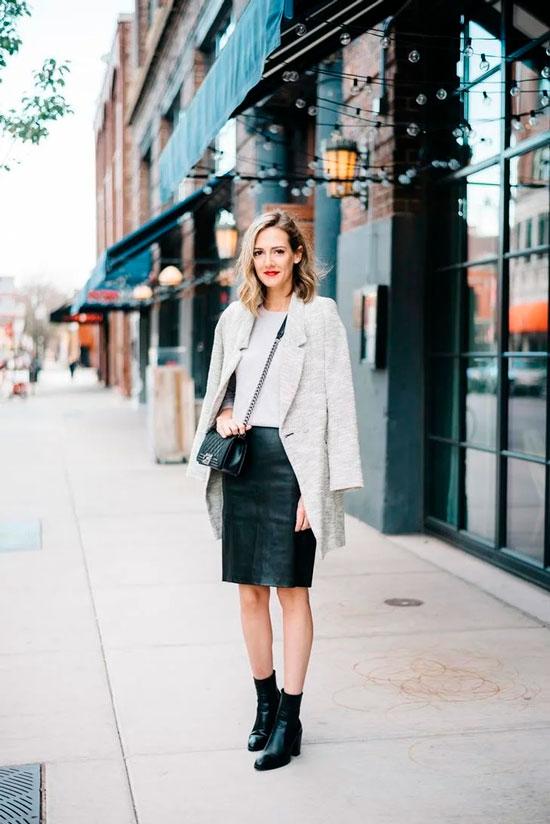 Кожаная юбка-карандаш и пальто