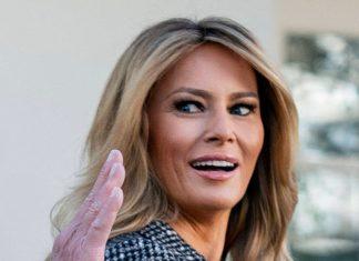Мелания Трамп в кожаной юбке, твидовом пальто и двухцветных лодочках покоряет поклонников