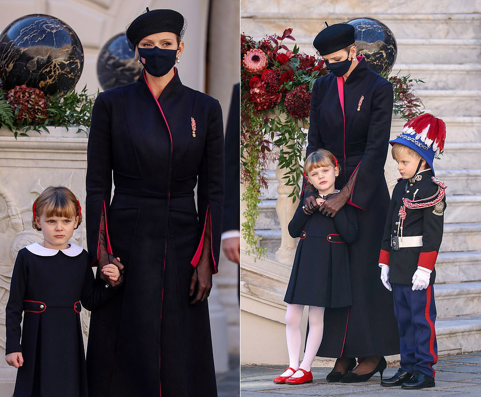 Принцесса Монако в пальто и туфлях