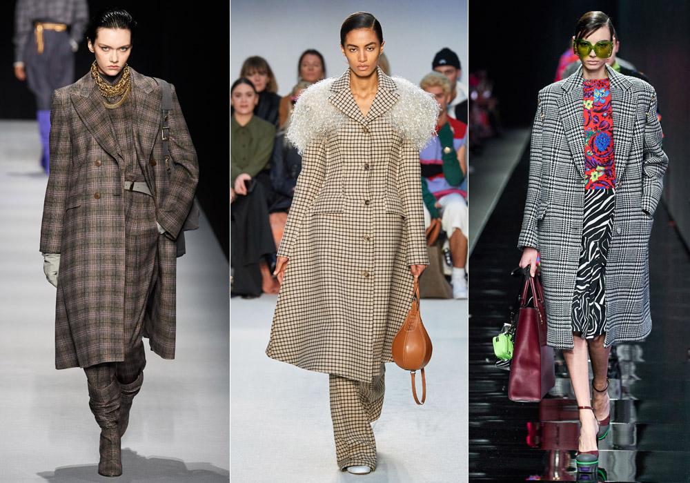 Украшенное принтом в клетку - модные пальто зимы 2021