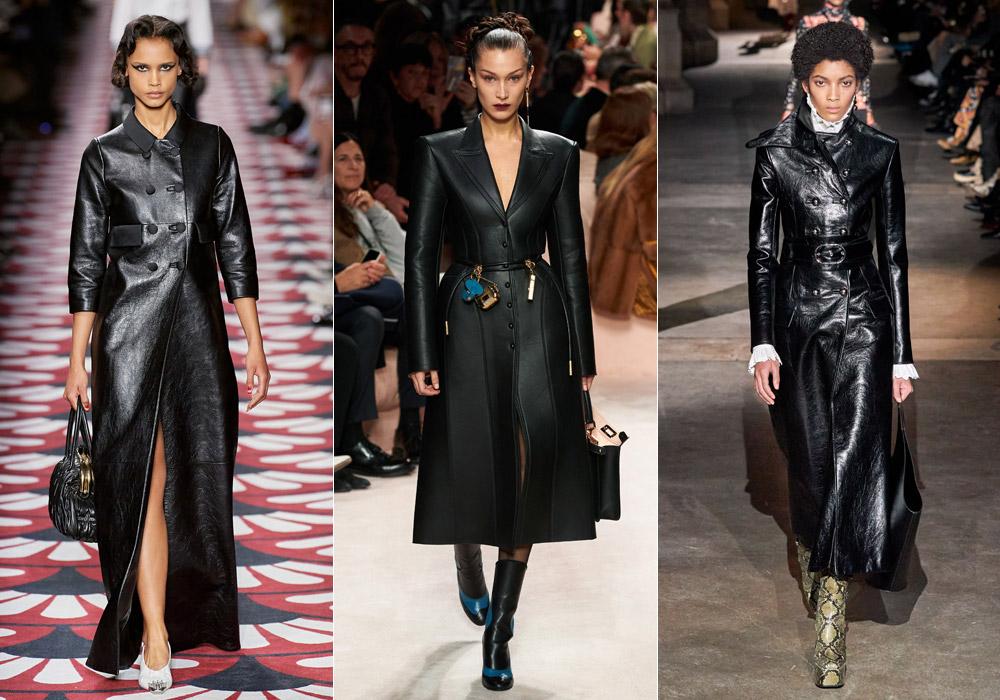 Черное кожаное пальто - основные тенденции зимы 2021