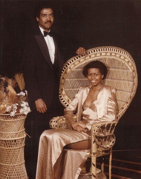 Мишель Обама в золотом платье на выпускном вечере