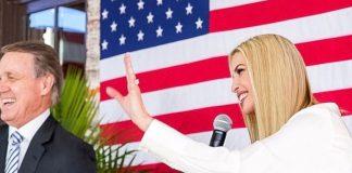 Иванка Трамп в легкой блузе, строгой юбке карандаш и замшевых лодочках