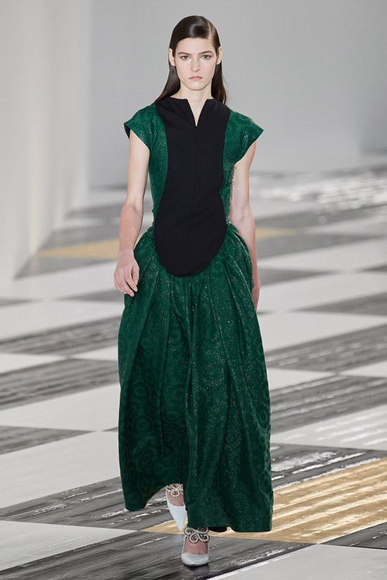Зелено черное платье Loewe