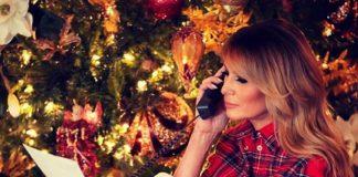 Мелания Трамп в юбке карандаш, рубашке и классических лодочках напоминает Санта-Клауса