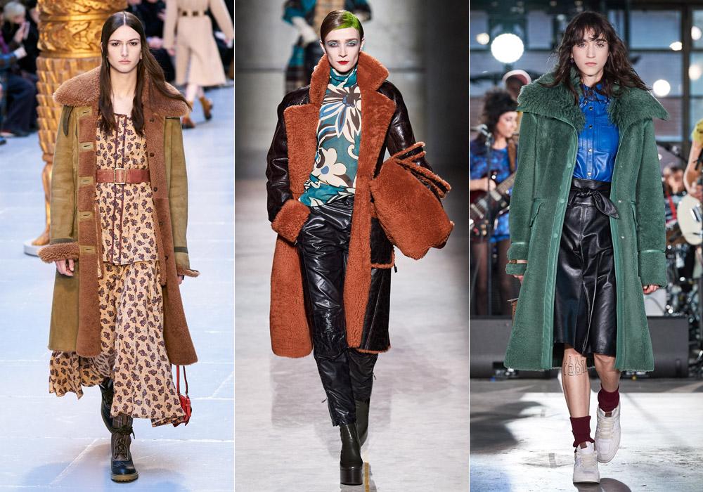 Модные зимние дубленки 2021 средней длинны