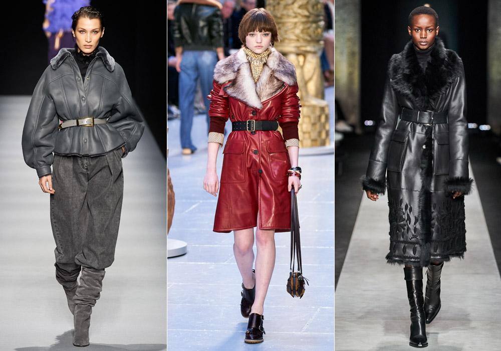 Модные дубленки зимы 2021 с ремнем