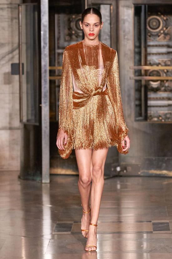 Золотое платье с бахромой Oscar de la Renta