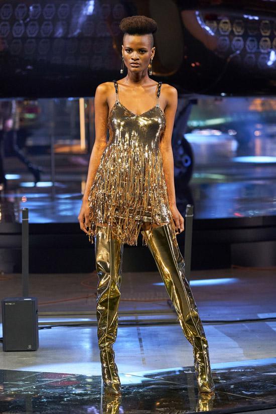 Золотое мини платье Philipp Plein
