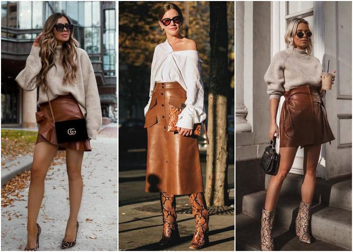 Кожаные юбки теплых оттенков