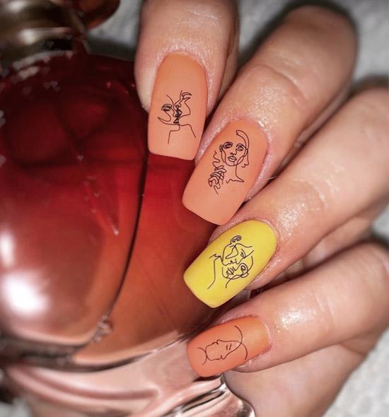 Желто-оранжевый маникюр в стиле Пикассо