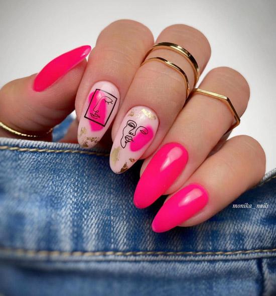 Ярко розовый маникюр в стиле Пикассо