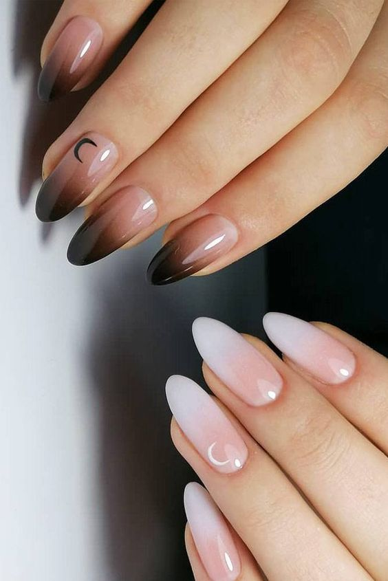 Черно белый маникюр омбре на длинных овальных ногтях
