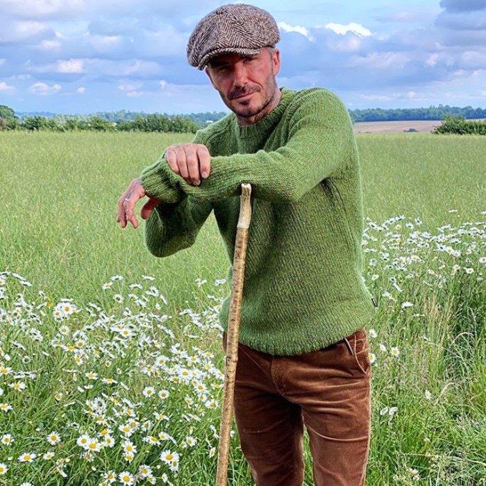 Дэвид Бекхэм в вельветовых брюках и зеленом свитере