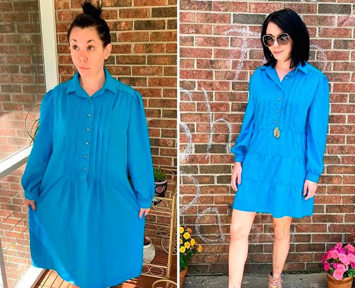 Девушка в легком платье синего цвета с длинными рукавами