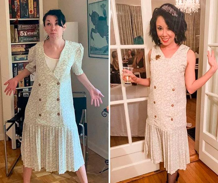 Девушка в светлом платье ниже колен с плисированной юбкой