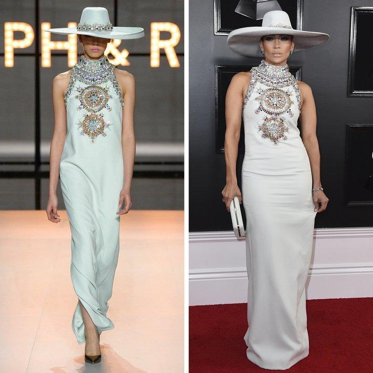 Дженнифер Лопес в белом длинном платье с украшениями и шляпой от Ralph & Russo