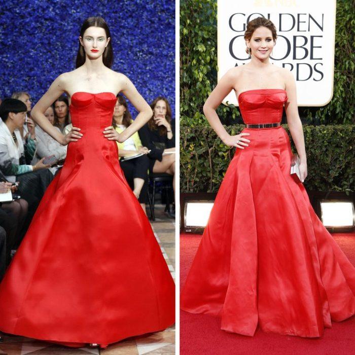 Дженнифер Лоуренс в красном атласном платье до пола с золотым поясом от Christian Dior