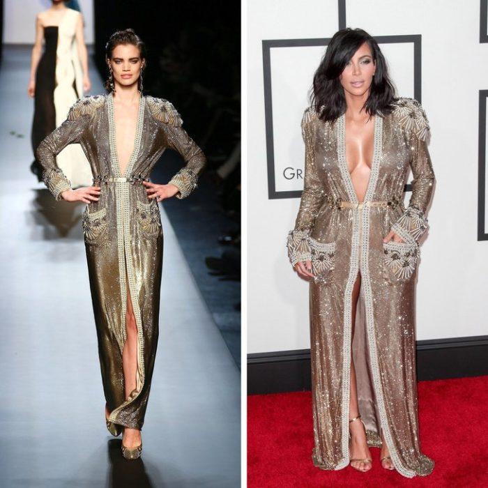 Ким Кардашьян в золотом платье-халат до пола с длинными рукавами и карманами от Jean Paul Gaultier