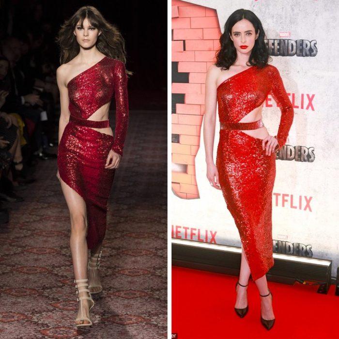 Кристен Риттер в красном блестящем платье с вырезами от Julien Macdonald