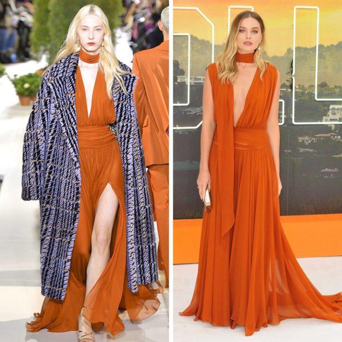 Марго Робби в легком длинном платье оранжевого цвета от Óscar de la Renta