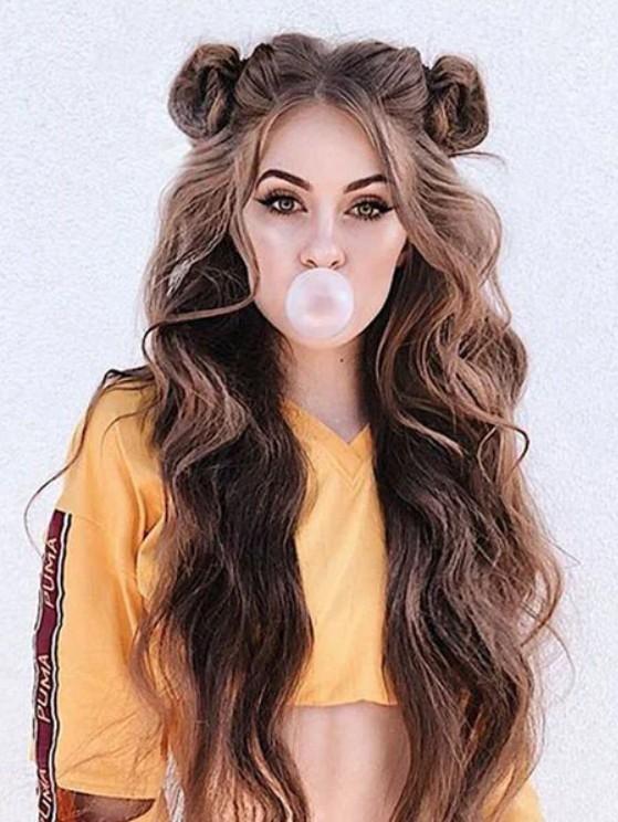 Прическа с пучками на длинных густых волосах