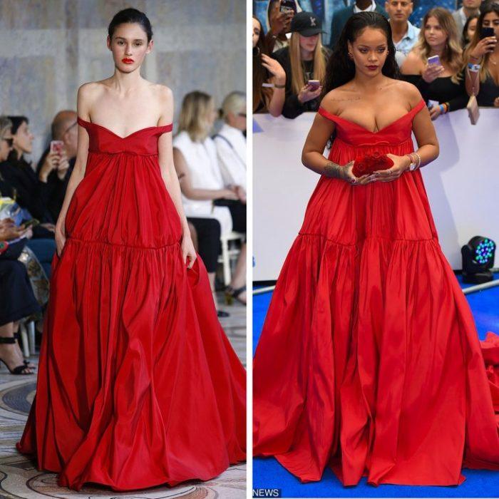 Рианна в красном платье трапеция от Giambattista Valli