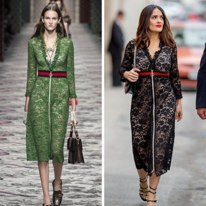 Сальма Хайек в черном кружевном платье от Gucci